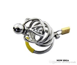 gay male catheter fetish 2021 - Middle size Male Stainless Steel CHASTITY DEVICE BONDAGE SOUNDING CAGE Gay Fetish A008
