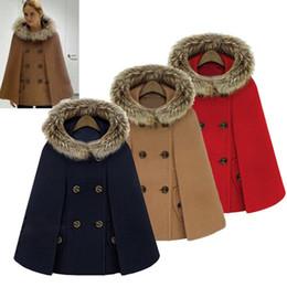 Womens shaWl coat online shopping - 2017 Hot Womens Girl Faux Fur Shawl Wool Hooded Poncho Batwing Cape Coat Winter Jacket Cloak Poncho