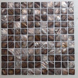 Water Tablets UK - [FREE SHIPPING] 25x25mm Brown color mother of pearl shell mosaic , mesh backer, fresh water shell tile ( MS077)