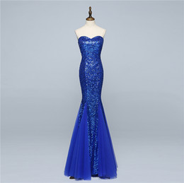 sexy hot gowns UK - Mermaid Evening Dresses Long Cheap Royal Blue Sequined Tulle 2017 Hot Formal Prom Party Gowns Real Photo Special Occasion Dress