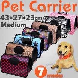 Folding Dog Carrier Canada - Pet Carrier Dog Cat Puppy Folding Travel Carry Bag Portable Cage Crate Middle