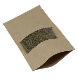 $enCountryForm.capitalKeyWord UK - 6.3''x8.7'' (16x22cm) Standing Kraft Paper W  Clear Window Plastic Pack Bag For Food Coffee Nuts Storage Zipper Doypack Pouch