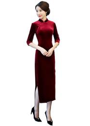 $enCountryForm.capitalKeyWord UK - Shanghai Story Chinese Style Dress Velvet Long Qipao Chinese traditional dress Half Sleeve cheongsam dress Autumn Qipao 2 Color