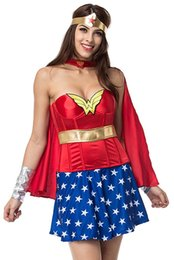 Barato Adulto Corset Halloween Traje-2017 Catsuit Costumes Adulto Red Halloween Corset Com Saia Azul Superwoman Superhero Dress