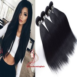 hair jet black 26 inches 2018 - Jet Black Straight Hair 4 Bundles 8A Indian Straight Virgin Hair 4 Bundles Raw Human Hair