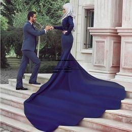 2017 vintage long mermaid wedding dresses with long sleeves satin muslim bridal wedding dresses sequins vestido de noiva wedding dresses