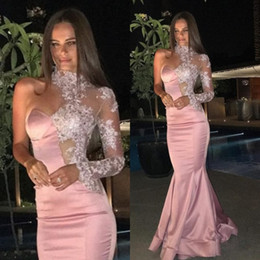 universe shirts 2021 - Miss Universe Lace Prom Dresses Pink Mermaid Major Beaded 2020 High Neck One-Shoulder Formal Celebrity Gowns Party Eveni