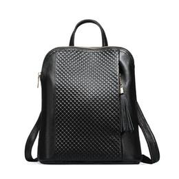 $enCountryForm.capitalKeyWord UK - Leather Tassels Embossed Plaid Pattern Backpack Women Genuine Leather Bag Girl 100% Natural Cowhide School Shoulder Bags Free Shipping
