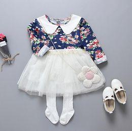 $enCountryForm.capitalKeyWord NZ - 2017 Spring Baby Girls Florals Dress Kids Cotton Flowers Long Sleeve Lace Tulle Tutu Princess Dress Children Casual Dresses