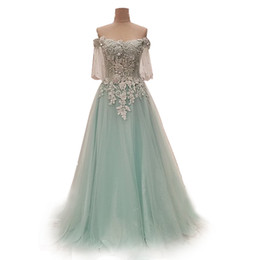 China 2018 New Style Tulle Light Sky Blue Wedding Dress With Applique Beaded Half Of Sleeves Formal Occasion Party Sexy Wedding Gowns suppliers