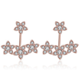 Cz Earring Jackets Canada - New Trendy Rose Gold Plated   Silver Plated Flower Front Back Round CZ Stud Earrings Jacket Cuff Crawlers Earrings Set Statement