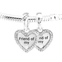 Make Friendship Charm Bracelets Canada - Pandulaso Hearts of Friendship Dangle Charm Fits Pandora charms Bracelets Woman DIY Beads for jewelry making Authentic 925 Sterling silver