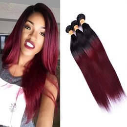 Two Colored Hair Extensions NZ - Colored Brazilian Burgundy Ombre Human Hair 3 Bundles Cheap Two Tone 1B 99j Brazilian Straight Remy Human Hair Weave Extensions
