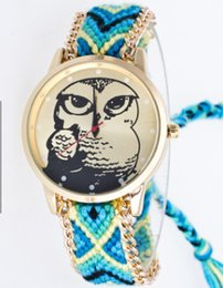 $enCountryForm.capitalKeyWord UK - newest cheap national feature cartoon animal owl colorful wool fabric band unisex watch christmas gift free shipping