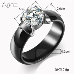 $enCountryForm.capitalKeyWord NZ - A&N New Arrival Ceramic Rings For Women Huge Zircon Cabochon Setting Black&White Ceramic Wedding Rings Cute Simple Unique Design