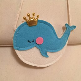 online shopping Non woven crown blue whale shoulder bag Gilrs cute Satchel baby mini coin bag costume accessory props