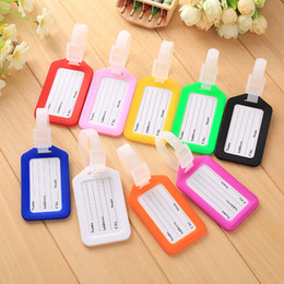 plastic travel bag tags UK - 50Pcs Lot Aircraft Plane Luggage ID Tags Boarding Travel Address ID Card Plastic Baggage Tag Case Bag Labels Card Dog Tag Identification