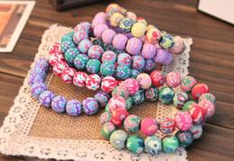 Discount clay bracelets - Kids 10mm*18 Beaded Bracelet Fashion Printed polymer clay bracelets 20pcs Bohemian beaded bracelets Elastic force Clay B