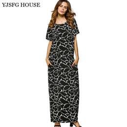 Barato Casual Vestido Preto Longo Praia-YJSFG HOUSE Plus Size Summer Short Sleeve Long Maxi Dress Mulheres 2017 Vintage Loose Boho Beach Vestidos Casual Black Robe Femme q170669