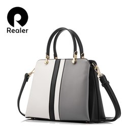 Ladies Handbag Office Australia - bag designer REALER design handbag female fashion black and white patchwork tote ladies handbags high quality artificial leather office bag