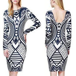 Robe Rayée À Rayures Pas Cher-Sexy Women Backless Bodycon Crayon Dress Hollow Out Striped Hip Dress Casual Party Evening Prom Fitted Stretch Wiggle Crayon Gaine Robes