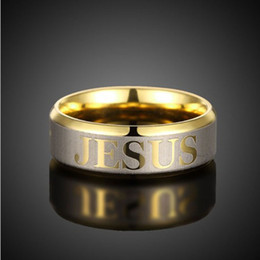 EngagEmEnt gold rings for man online shopping - Stainless Steel Christian Jesus Ring Gold Rings Tail Finger Rings for Women Men Fashion Jewelry band ring fashion jewelry Drop Ship