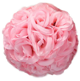 silk wedding pomanders UK - 15cm Artificial Silk Rose Pomander Flower Balls Wedding Party Bouquet Home Decoration Ornament Kissing Ball Hop