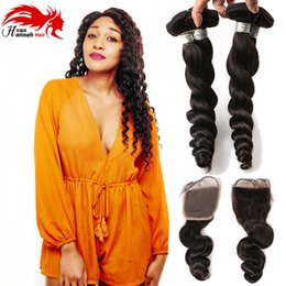 7a peruvian loose wave closure online shopping - 7A X4 Lace Closure With Bundles Loose Wave Curly Brazilian Virgin Hair Bundles Hair Wefts With Lace Closure