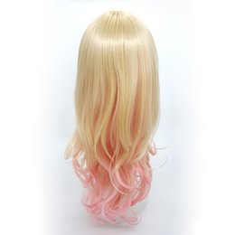 wig cosplay long blonde 2019 - XT934 Fashion Mix color Blonde Pink Gradient De Couleur 24 inch Long Deep Curly Wigs Oblique Bang Lolita Cosplay Natural