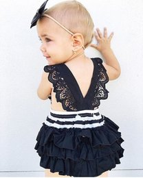 Barato Macacões Bonitos Dos Miúdos-Ins Hot Infant Baby Girls Rapazes de renda listrada Bebe Princess Cute Jumpsuits 2017 Babies Summer Fashion Romper Roupa infantil