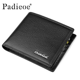 Man Business Card Holder Canada - Wholesale- Padieoe Famous Brand Men Wallet Casual Business Men's Short Purse Top Quality 100% Genuine Cow Leather Wallets Card Holders