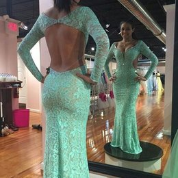 Crystal Back Beaded Evening Dresses Canada - Full Lace Long Sleeve Beaded Mermaid Prom Dress Crystal 2019 Sexy Open Back V Neck Mint Green Party long Women Evening Pageant Gowns