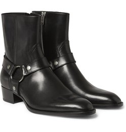 Man Fashion Slp Classic Wyatt 40 Harness Boots In Black Leather Personalized Men's Martin Boots Cowboy Boots