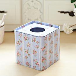 $enCountryForm.capitalKeyWord Australia - Wholesale- Free shipping Light blue flower Design Facial Paper Case Square Napkin Holder Metal Tissue Box Square metal case Hot Selling