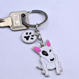 Bull Women Canada - American Pit Bull Terrier keychains Pet key ring dogs pendants keychains woman Car key ring Tag best friend gift
