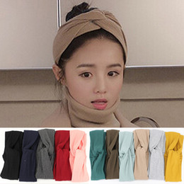 Bandes Larges Pour Les Filles Pas Cher-Women Headwrap Cotton Hairbands Headbands Knot Stretch Elastic Wide Head Bands Fashion Girls Accessoires pour cheveux 11 couleurs