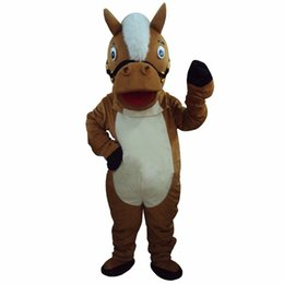 Barato Trajes De Cavalos Profissionais-Profissional New Brown Horse Mascot Costume Adulto Size Fancy Dress FREE SHIPPING