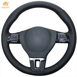 Passat Steering Wheel Canada - Mewant Black Genuine Leather Car Steering Wheel Cover for Volkswagen Gol Tiguan Passat B7 Passat CC Touran Magotan