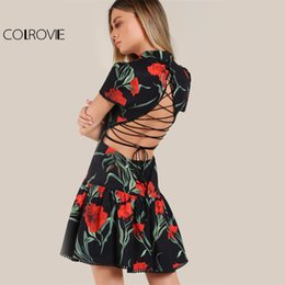Barato Vestidos Deixa Cair De Volta-COLROVIE Fit Flare Vestido floral 2017 Sexy Lace Up Back Mulheres Drop Waist Vestidos de festa de verão New Vintage Zip Cute Ladies Dress q1113