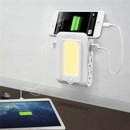Discount light wall charger dual usb - Wall Mount Charger with 4 AC Outlet Dual USB Charging Ports Dusk to Dawn Sensor LED Night Light and Slot Phone Holder