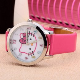 Wholesale Cartoon Beautiful Hello Kitty KT cat style Color number dial children students girl s leather quartz watch