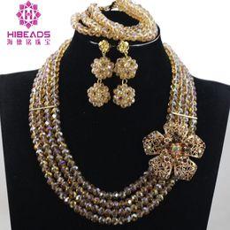 $enCountryForm.capitalKeyWord Canada - Charming Champagne Crystal Bead Afriacn Bridal Jewelry Set Crystal Earring Bracelet Necklace Flower Brooch ANJ402