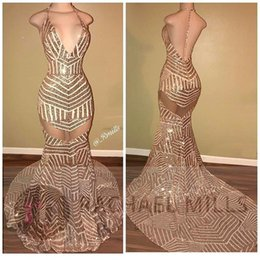 Barato Vestidos Sexy Halter-2017 Halter Sequined Mermaid Long Prom Vestidos com V Neck Sexy Backless Vestidos de noite Longo formal Vestidos de festa Cheap BA5117