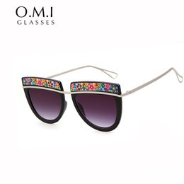 floral printed sunglasses 2019 - Hot Floral Print Eyebrow Special Sunglasses 2017 Oversized Flat Top Sun Glasses Touring Brand Designer OM76 cheap floral