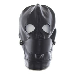 Barato Escravidão Máscara Vermelha Preta-Faux Leather Latex Fetish Mask Abra Mouth Sexy Mask Spandex Cabeça Bondage Hood Sexy Costumes Erotic Toys Black Red 2017 Hot New