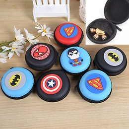 eva key NZ - Super Hero Series Fidget Spinner Boxes Round EVA Pouch Storage Bags Cases Mini Coin Purses Wallets Zipper Key Headphone Holder Bags