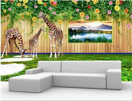 Chinese  Custom wallpaper for walls 3 d photo mural Creative Giraffe 3d stereoscopic wallpapers for living room manufacturers
