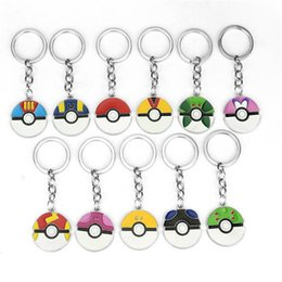 Pokemon Wholesale Figure Australia - Cartoon Pocket Pikachu Poke Toys Action Figures Poke Ball Anime Keychain Keyring Pendant Halloween Christmas Gifts DHL Free
