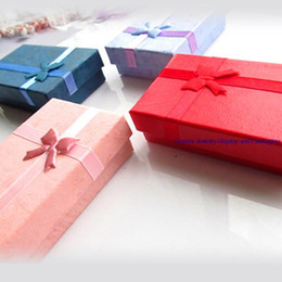 Purple Jewelry Holder Canada - 48Pcs Paper Box Jewelry Packaging Gift Box with Sponge Pink Red Blue Purple Square Jewelry Set Ring Stud Earrings Necklace Ring Boxes Holder