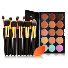 Maquillaje Esponjas Al Por Mayor Baratos-Venta al por mayor-10PCS maquillaje pinceles 1pc Sponge Puff 15 Color Concealer Paleta Set Set de cepillo de fundación de sombra profesional Make Up Set